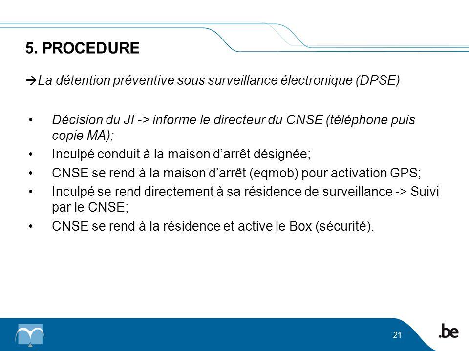 5. PROCEDURE La détention préventive sous surveillance électronique (DPSE)