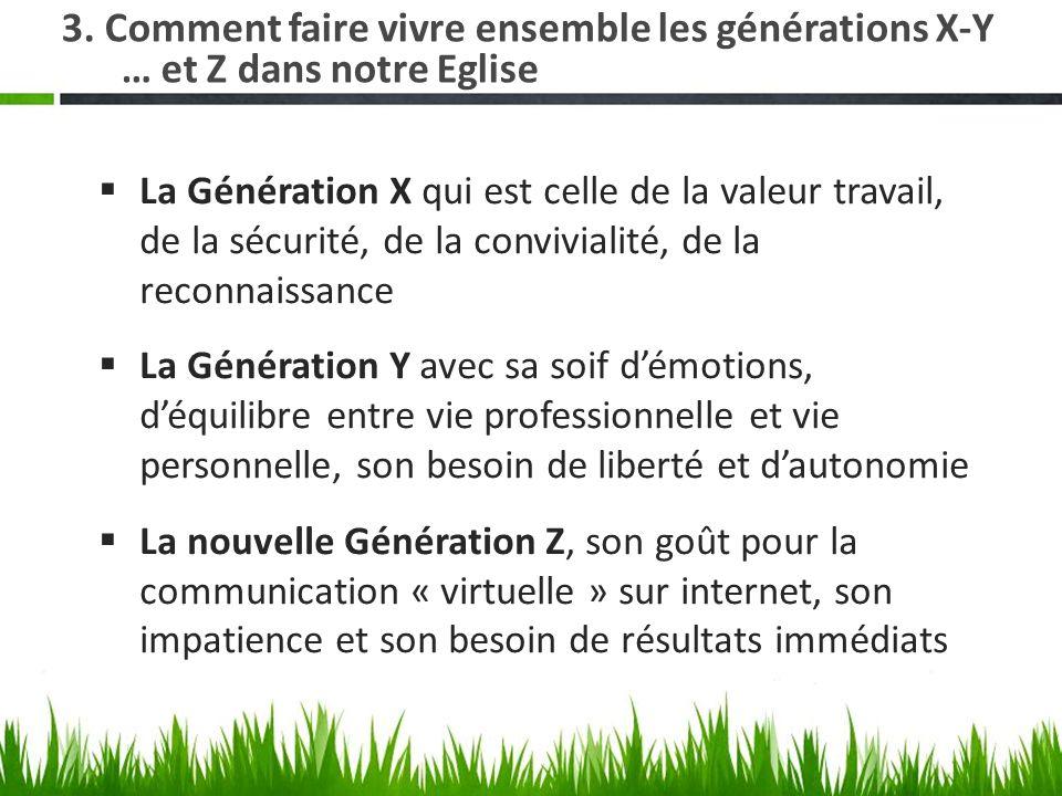 3. Comment faire vivre ensemble les générations X-Y … et Z dans notre Eglise