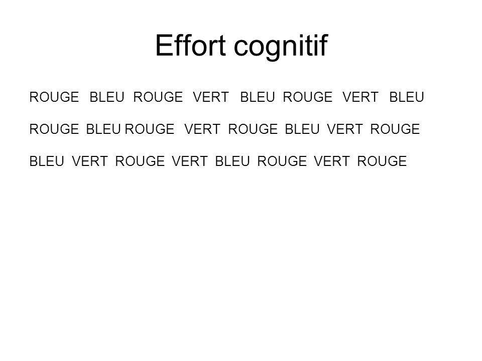 Effort cognitif ROUGE BLEU ROUGE VERT BLEU ROUGE VERT BLEU