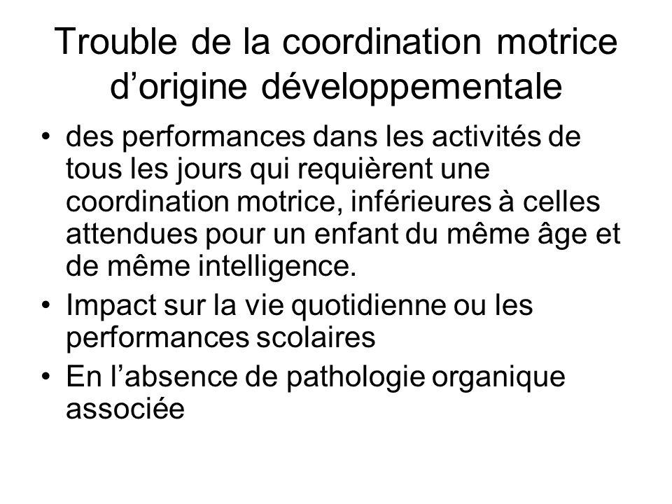 Trouble de la coordination motrice d'origine développementale