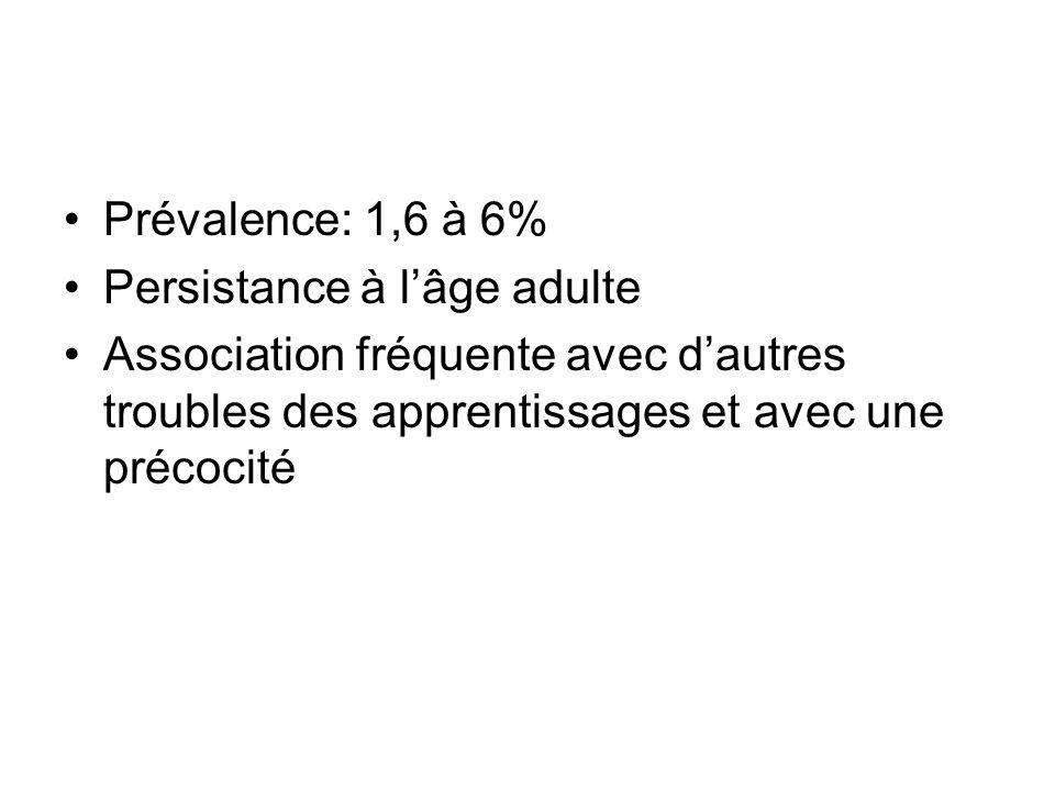 Prévalence: 1,6 à 6% Persistance à l'âge adulte.