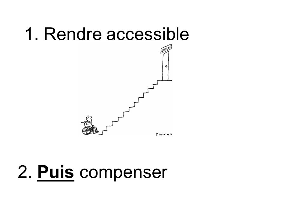 1. Rendre accessible 2. Puis compenser