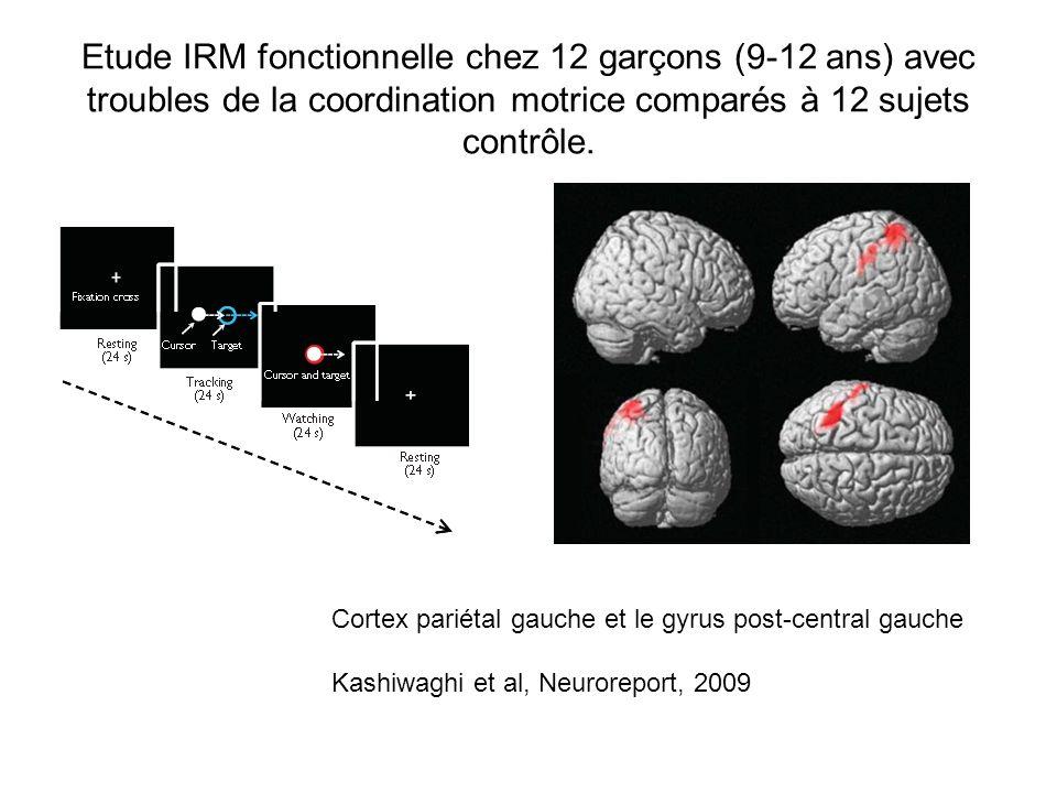 Etude IRM fonctionnelle chez 12 garçons (9-12 ans) avec troubles de la coordination motrice comparés à 12 sujets contrôle.