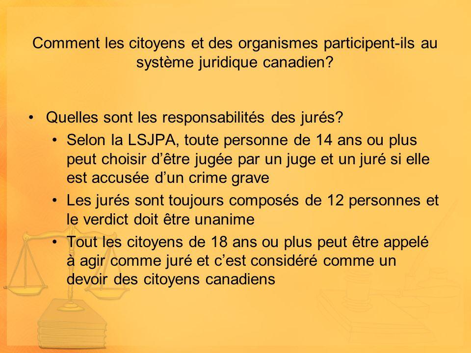 Comment les citoyens et des organismes participent-ils au système juridique canadien