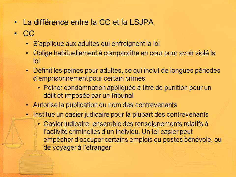La différence entre la CC et la LSJPA CC