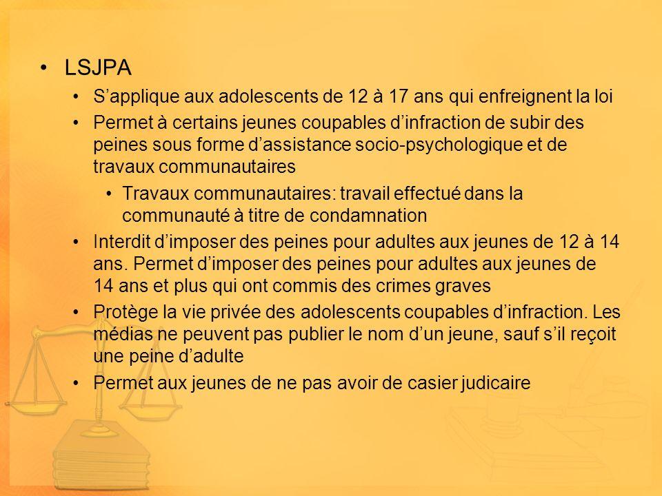 LSJPA S'applique aux adolescents de 12 à 17 ans qui enfreignent la loi