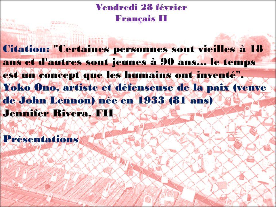 Vendredi 28 février Français II.
