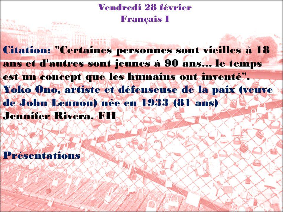 Vendredi 28 février Français I.
