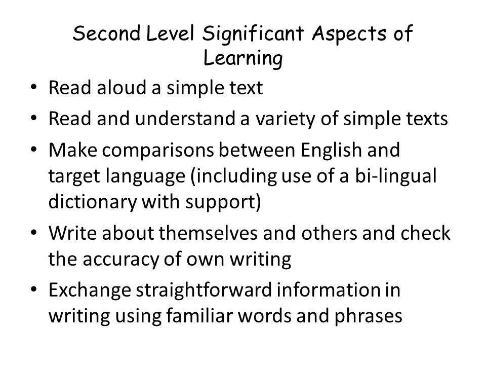 Second Level Significant Aspects of Learning