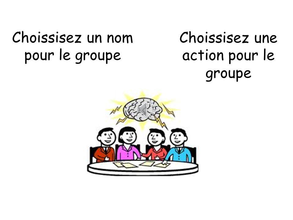 Choissisez un nom pour le groupe Choissisez une action pour le groupe