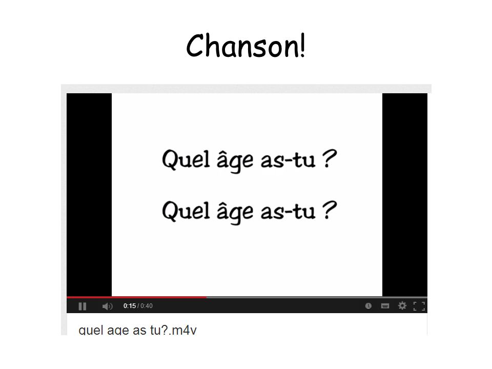Chanson! http://www.youtube.com/watch v=4WksvcV6vU0 et demi means and a half! :