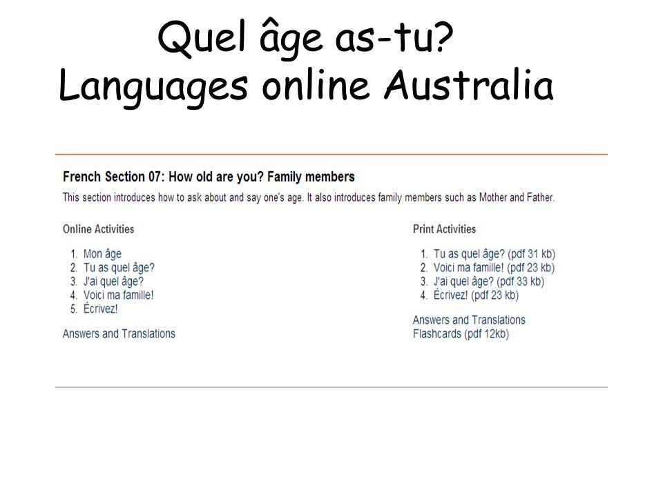 Quel âge as-tu Languages online Australia