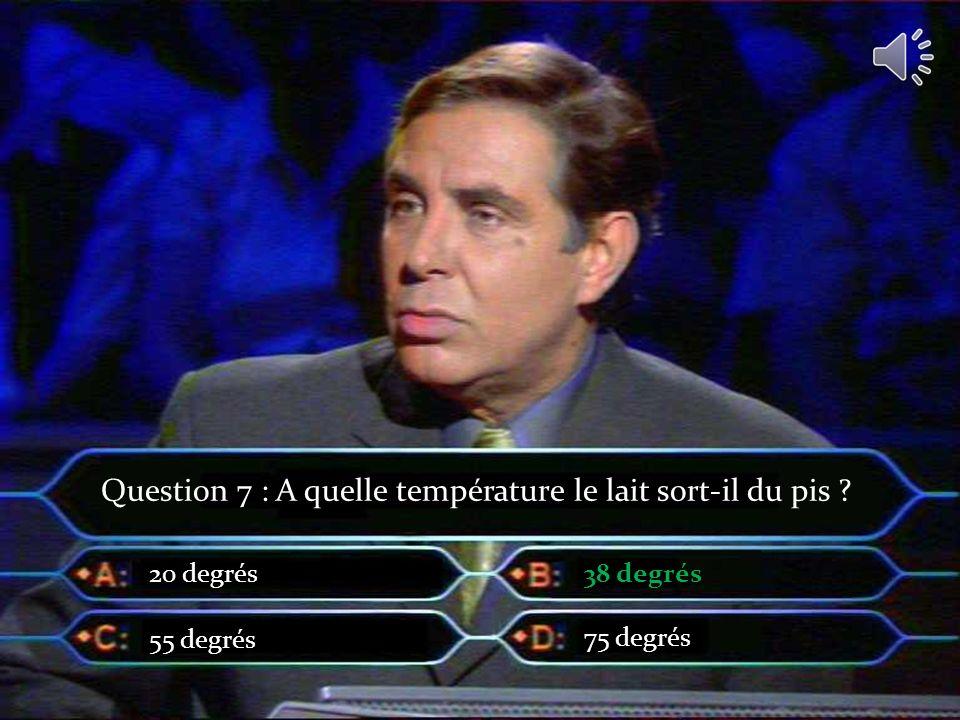 Question 7 : A quelle température le lait sort-il du pis