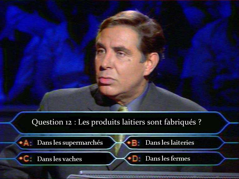 Question 12 : Les produits laitiers sont fabriqués