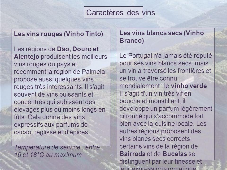 Caractères des vins Les vins blancs secs (Vinho Branco)