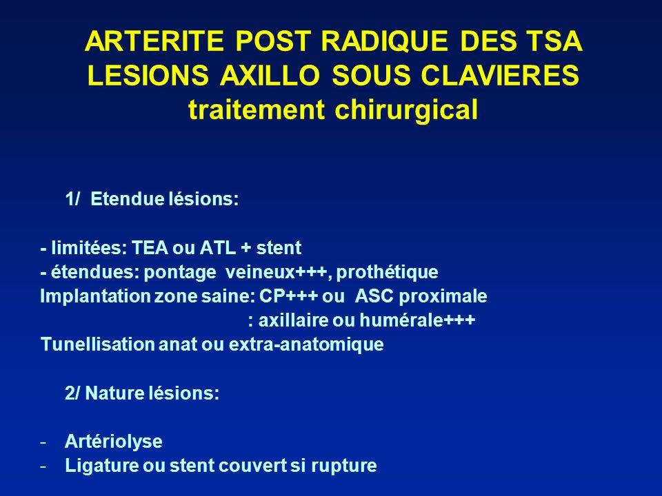 ARTERITE POST RADIQUE DES TSA LESIONS AXILLO SOUS CLAVIERES traitement chirurgical
