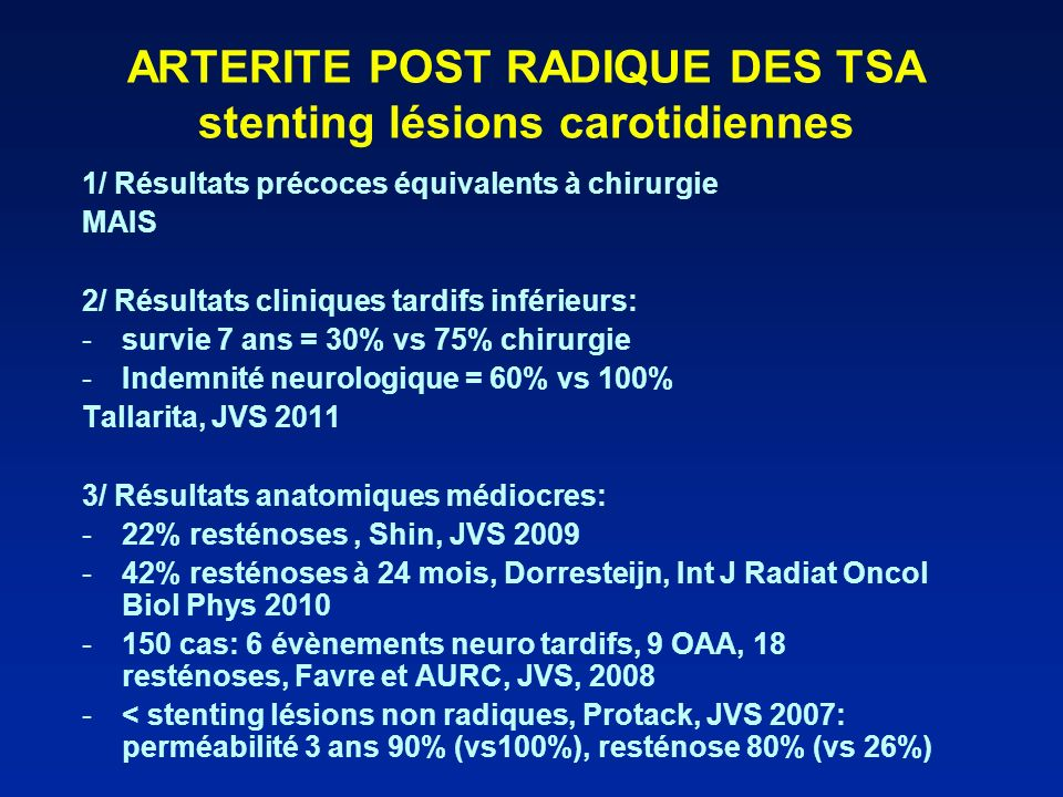 ARTERITE POST RADIQUE DES TSA stenting lésions carotidiennes