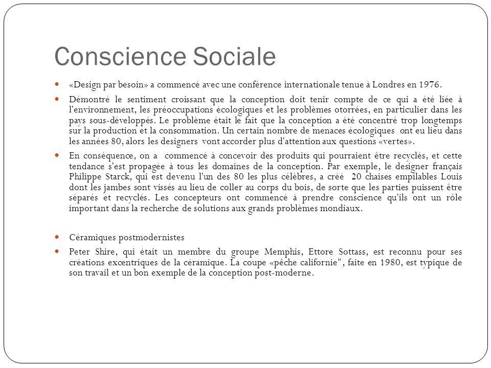 Conscience Sociale «Design par besoin» a commencé avec une conférence internationale tenue à Londres en 1976.