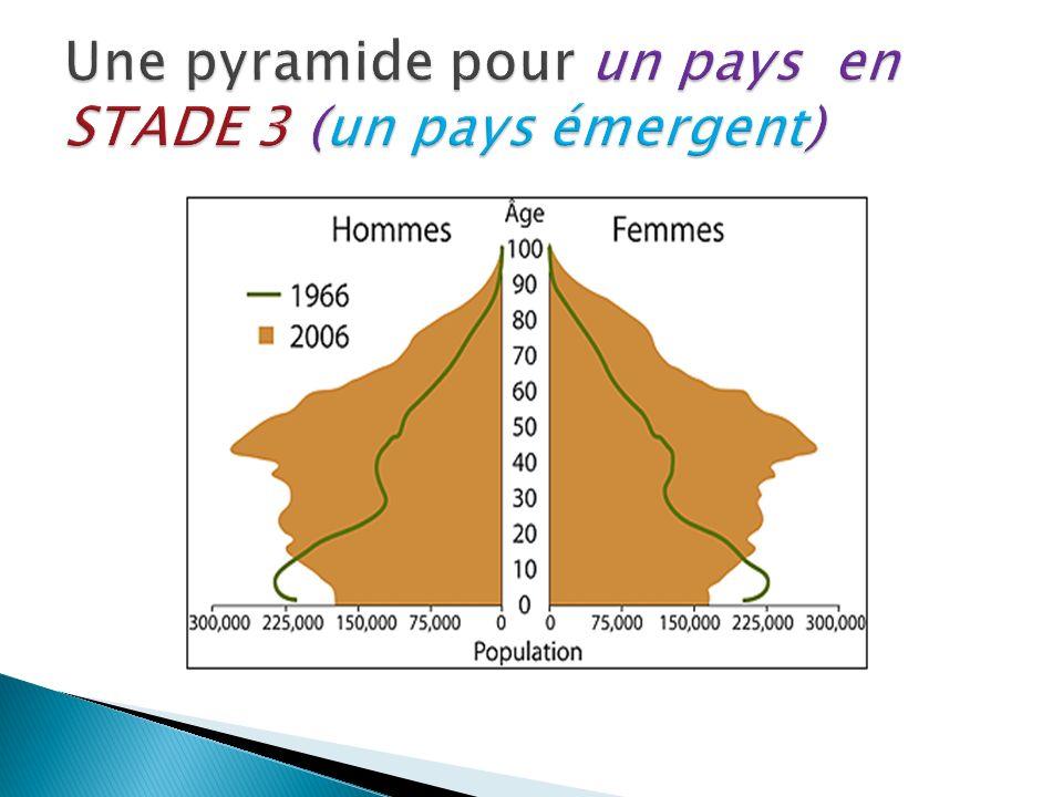 Une pyramide pour un pays en STADE 3 (un pays émergent)