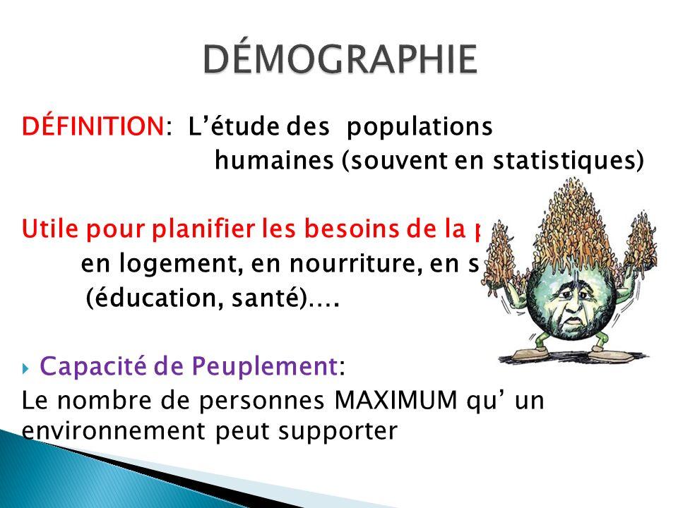 DÉMOGRAPHIE DÉFINITION: L'étude des populations