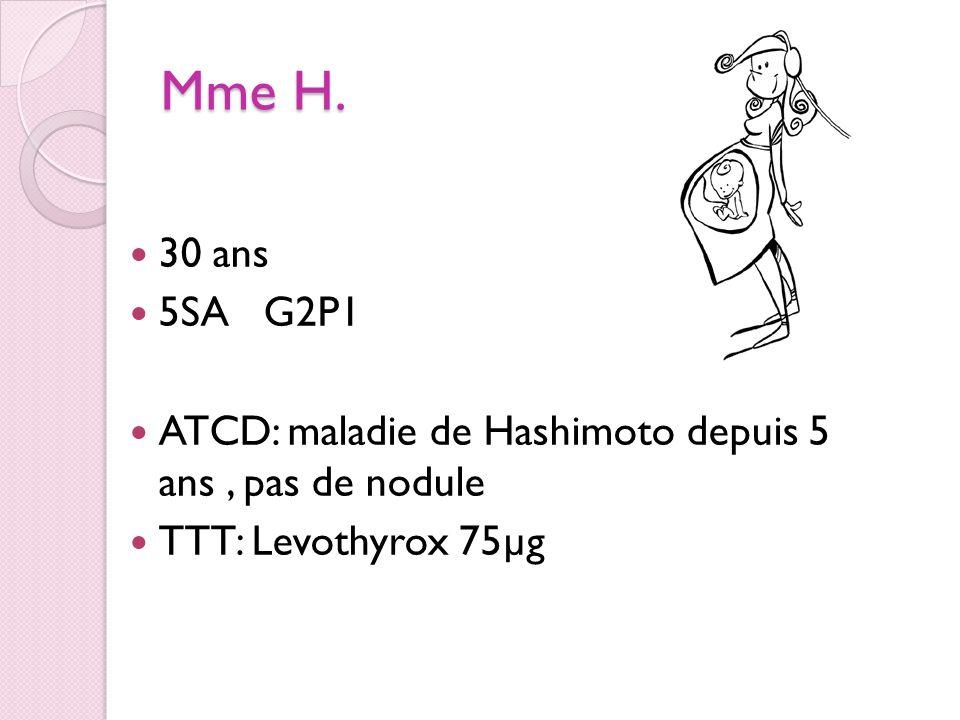 Mme H. 30 ans. 5SA G2P1. ATCD: maladie de Hashimoto depuis 5 ans , pas de nodule.