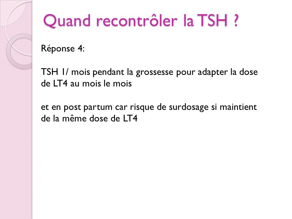 Quand recontrôler la TSH