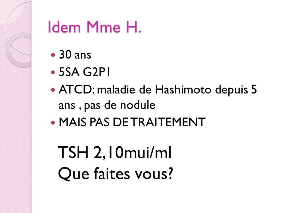 TSH 2,10mui/ml Que faites vous Idem Mme H. 30 ans 5SA G2P1