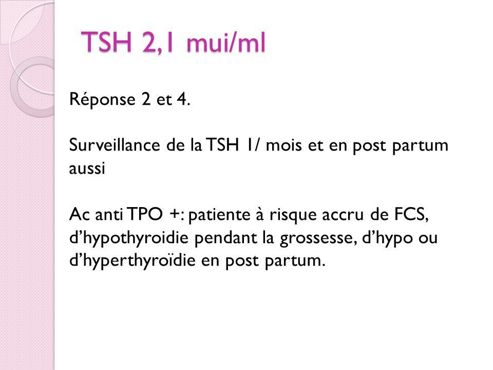TSH 2,1 mui/ml Rien Surveillance TSH 1/ mois et après la grossesse