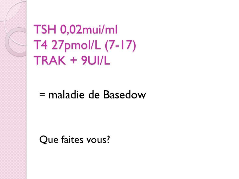 TSH 0,02mui/ml T4 27pmol/L (7-17) TRAK + 9UI/L