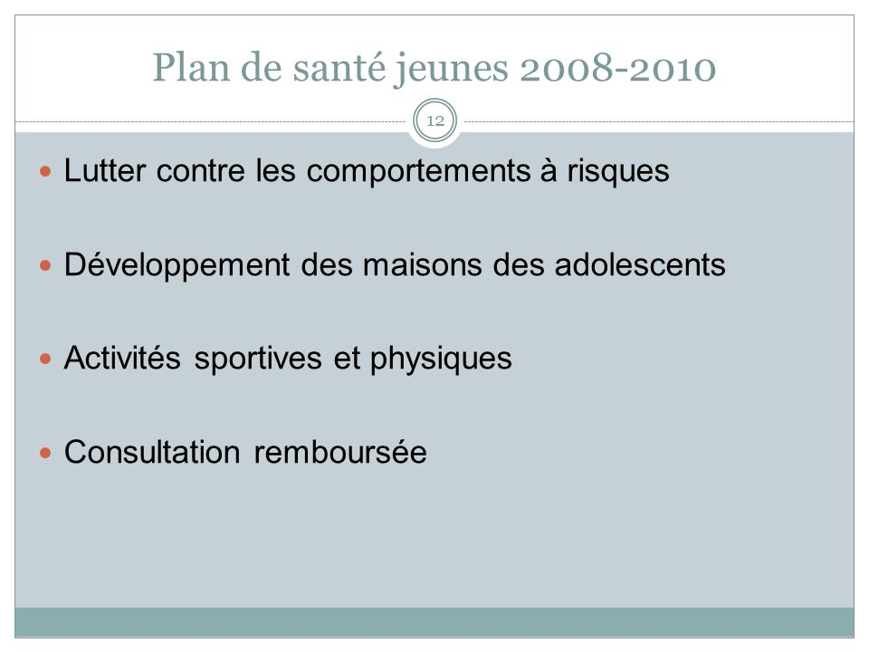 Plan de santé jeunes 2008-2010 Lutter contre les comportements à risques. Développement des maisons des adolescents.
