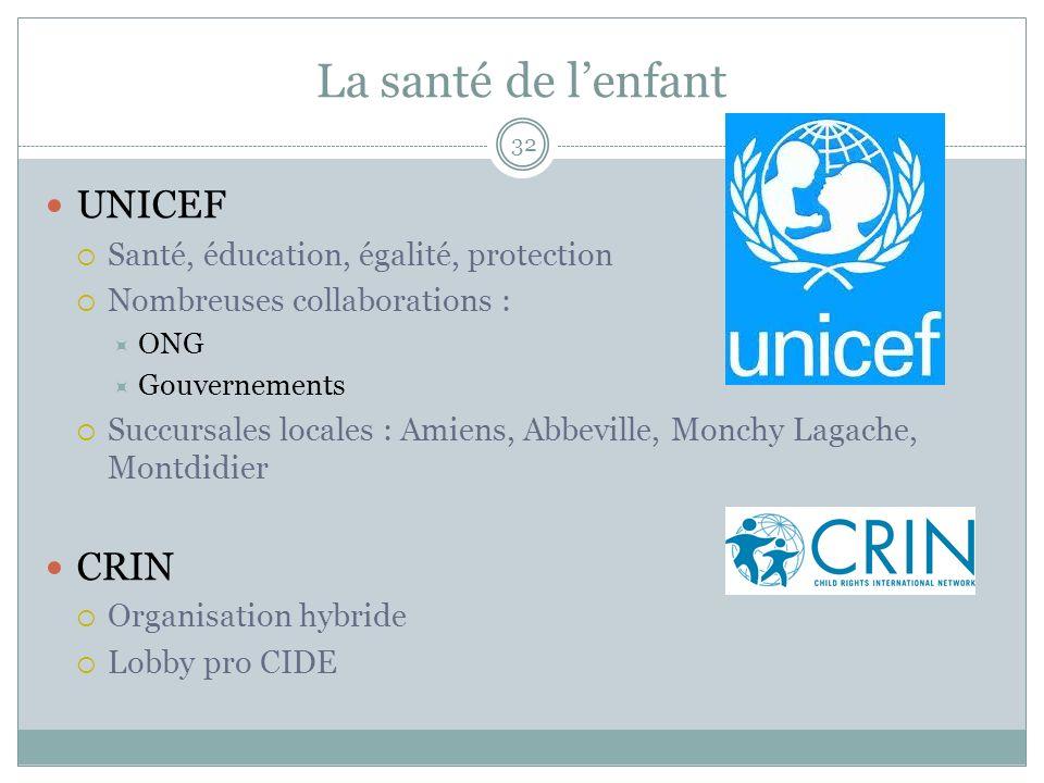 La santé de l'enfant UNICEF CRIN Santé, éducation, égalité, protection
