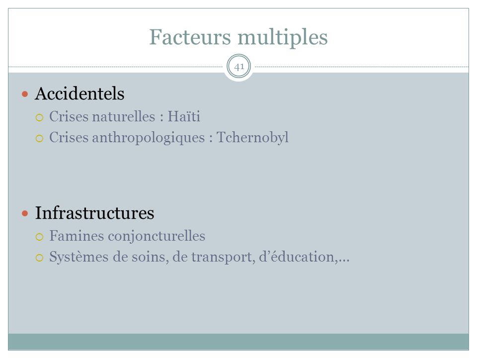 Facteurs multiples Accidentels Infrastructures