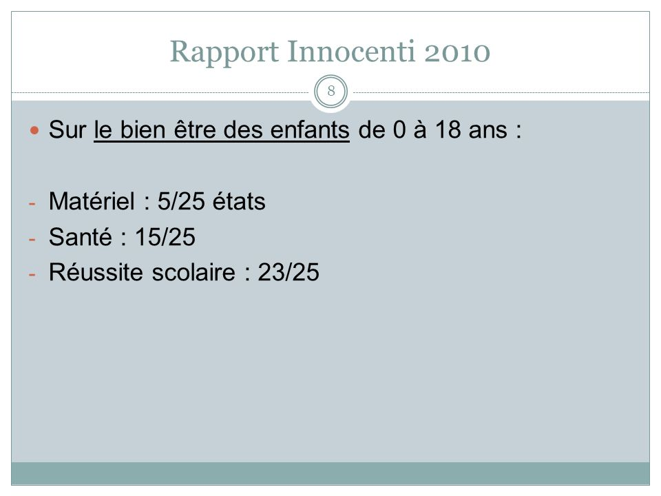 Rapport Innocenti 2010 Sur le bien être des enfants de 0 à 18 ans :
