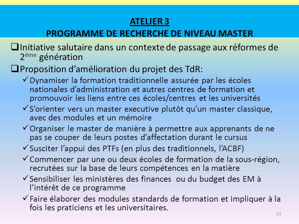 ATELIER 3 PROGRAMME DE RECHERCHE DE NIVEAU MASTER