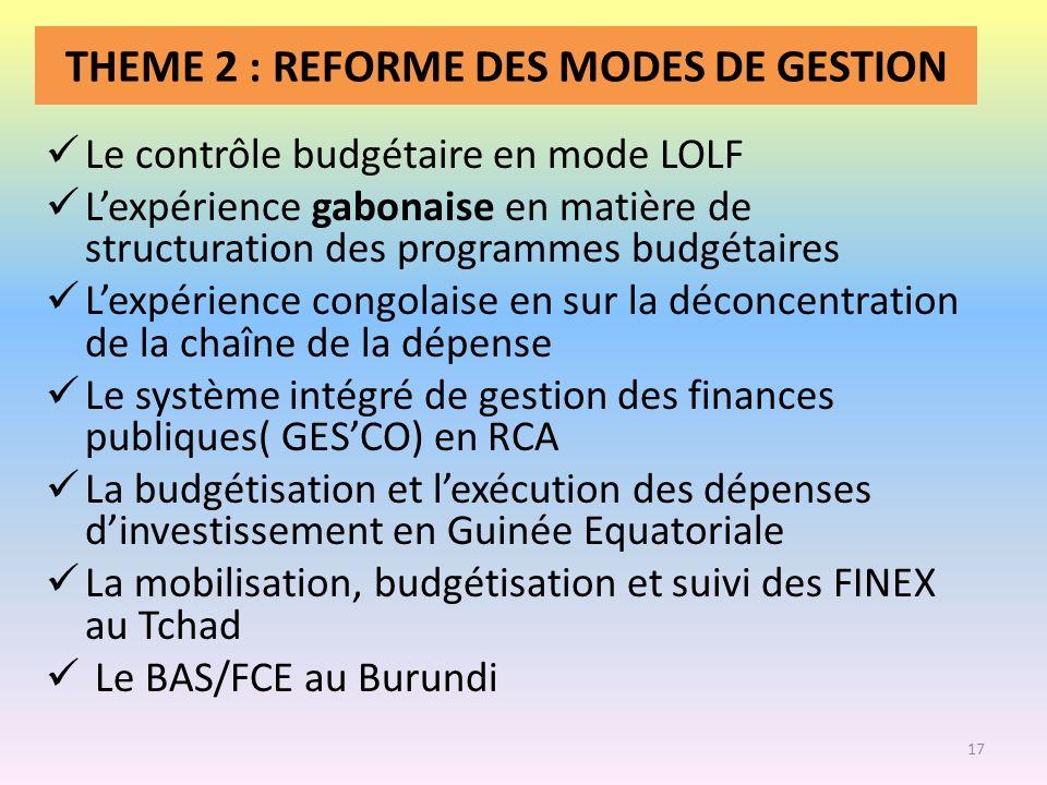 THEME 2 : REFORME DES MODES DE GESTION