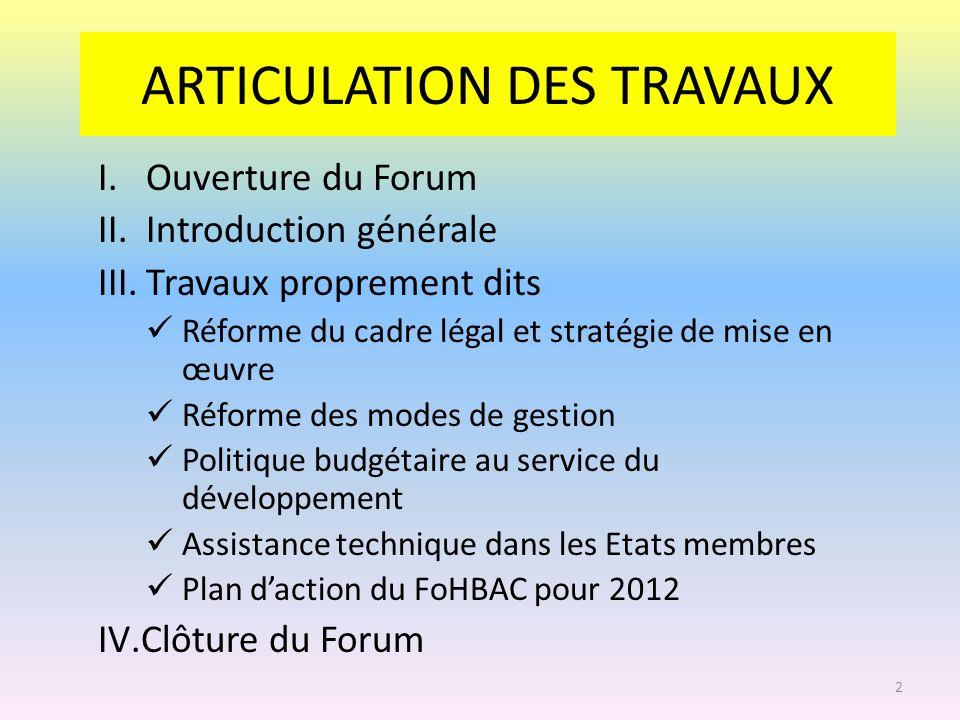 ARTICULATION DES TRAVAUX