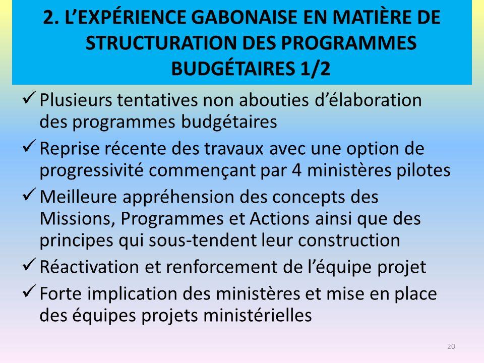 2. L'EXPÉRIENCE GABONAISE EN MATIÈRE DE STRUCTURATION DES PROGRAMMES BUDGÉTAIRES 1/2