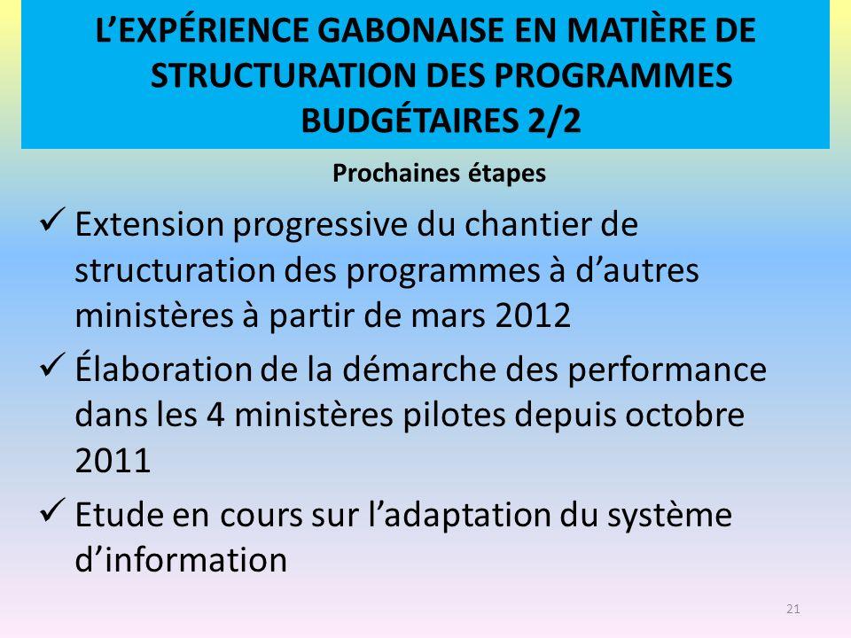 L'EXPÉRIENCE GABONAISE EN MATIÈRE DE STRUCTURATION DES PROGRAMMES BUDGÉTAIRES 2/2