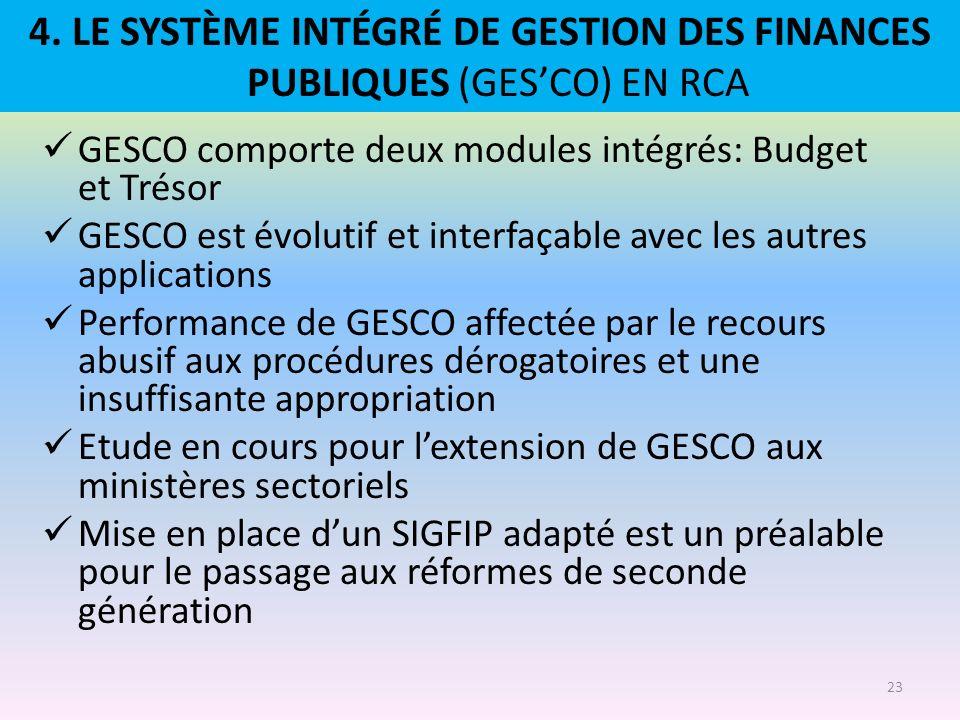 4. LE SYSTÈME INTÉGRÉ DE GESTION DES FINANCES PUBLIQUES (GES'CO) EN RCA