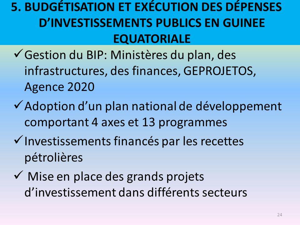 5. BUDGÉTISATION ET EXÉCUTION DES DÉPENSES D'INVESTISSEMENTS PUBLICS EN GUINEE EQUATORIALE