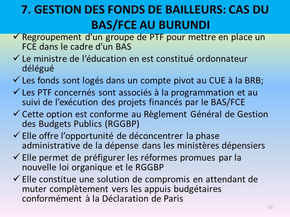 7. GESTION DES FONDS DE BAILLEURS: CAS DU BAS/FCE AU BURUNDI