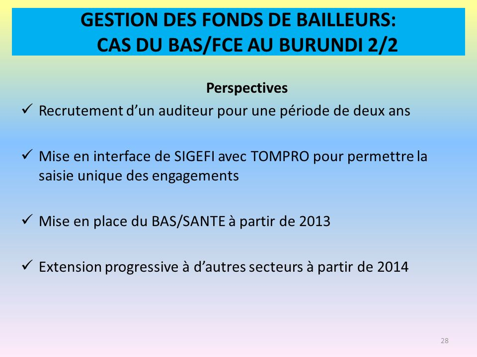 GESTION DES FONDS DE BAILLEURS: CAS DU BAS/FCE AU BURUNDI 2/2