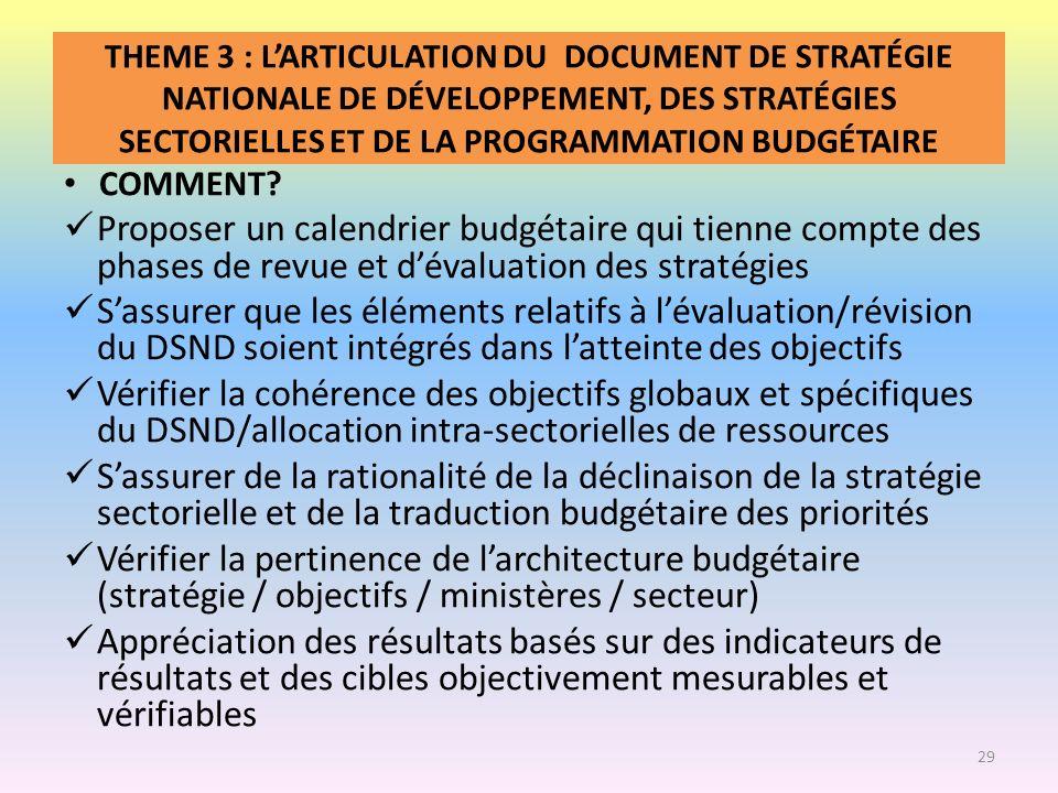 THEME 3 : L'ARTICULATION DU DOCUMENT DE STRATÉGIE NATIONALE DE DÉVELOPPEMENT, DES STRATÉGIES SECTORIELLES ET DE LA PROGRAMMATION BUDGÉTAIRE