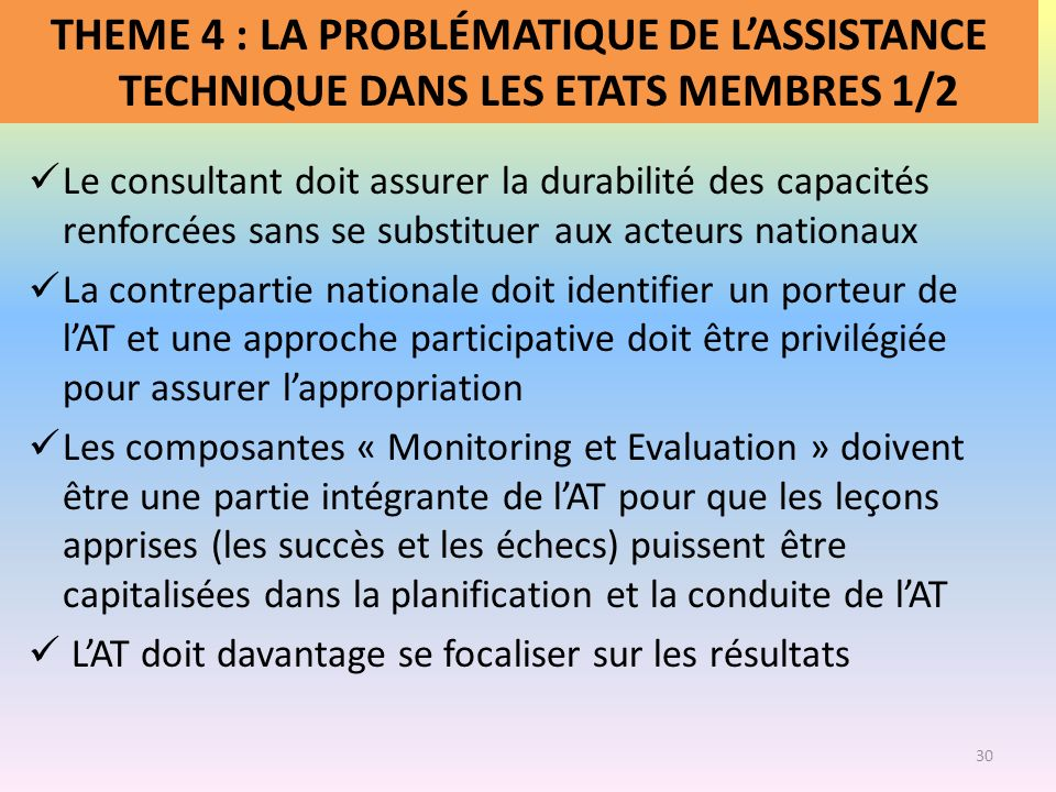 THEME 4 : LA PROBLÉMATIQUE DE L'ASSISTANCE TECHNIQUE DANS LES ETATS MEMBRES 1/2