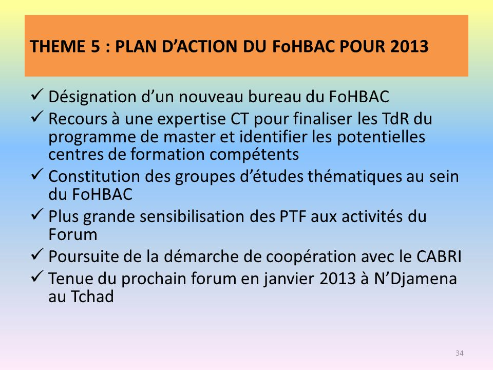 THEME 5 : PLAN D'ACTION DU FoHBAC POUR 2013