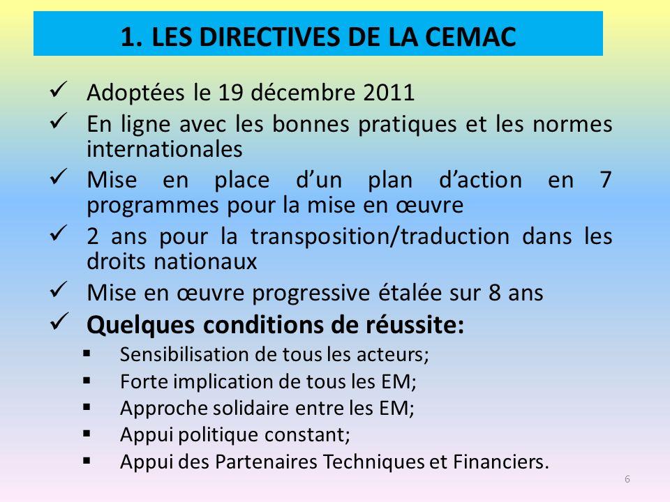1. LES DIRECTIVES DE LA CEMAC