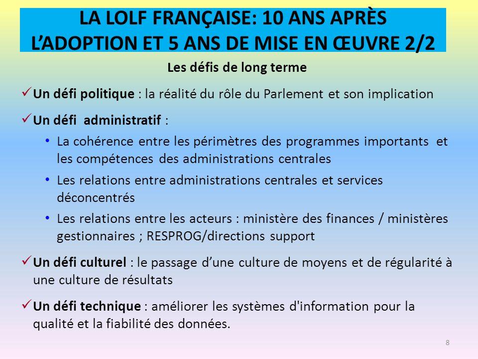 LA LOLF FRANÇAISE: 10 ANS APRÈS L'ADOPTION ET 5 ANS DE MISE EN ŒUVRE 2/2