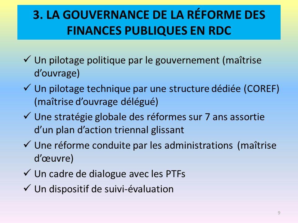 3. LA GOUVERNANCE DE LA RÉFORME DES FINANCES PUBLIQUES EN RDC