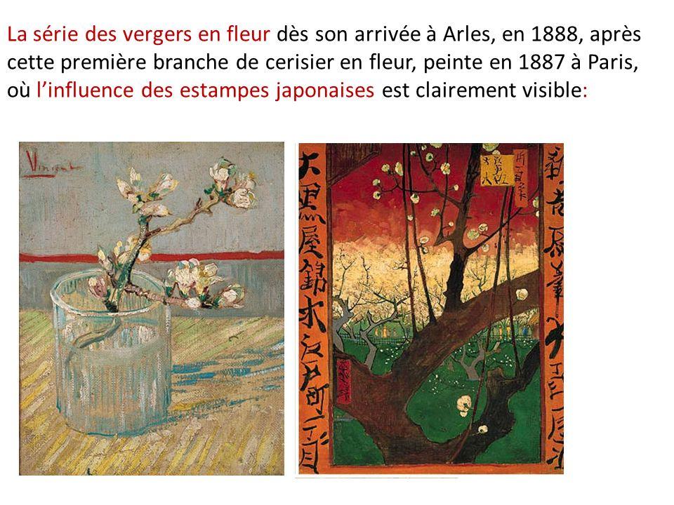 La série des vergers en fleur dès son arrivée à Arles, en 1888, après cette première branche de cerisier en fleur, peinte en 1887 à Paris, où l'influence des estampes japonaises est clairement visible: