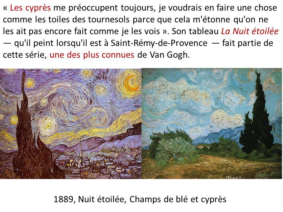 1889, Nuit étoilée, Champs de blé et cyprès